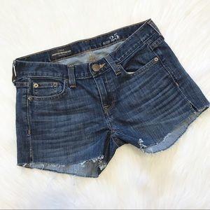 J. Crew Raw Edge Cutoff Patched Denim Shorts